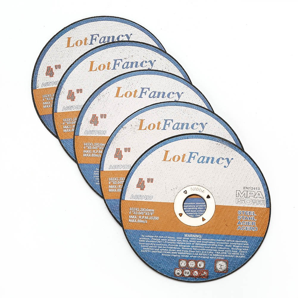 "5//8/"" Arbor Metal and Stainless Steel Cutting Disc Cutting Wheels 4-Inch by 0.045-Inch Cut off Wheels by LotFancy Pack of 10"