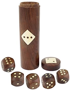 SKAVIJ Handmade Wooden 5 Dice Set with Storage 16MM D6 Gaming Dice, Brown