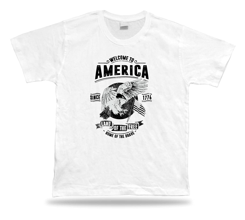 Tshirt Tee Shirt Birthday Gift Idea Welcome to America Freedom USA Retro Style