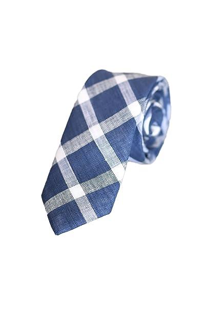 e62855b2d4 Oxford Collection Corbata de hombre Azul a Cuadros - 100% Lino - Clásica