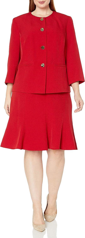 Le Suit Women's 4 Button Crepe Trumpet Skirt Suit