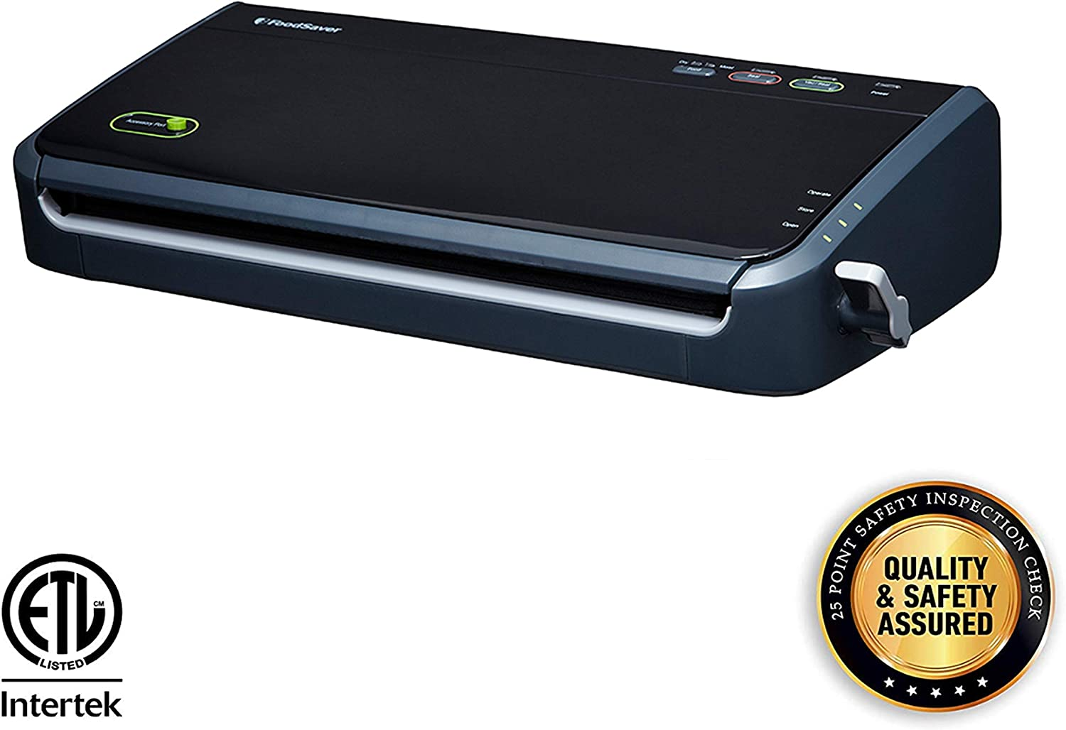FoodSaver FM2100-000 Vacuum Sealer Machine System with Starter Bags Rolls Safety Certified