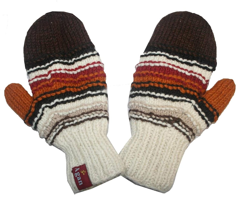 855697c07e5 1407 MT Women s Hand Knit Wool Fleece Naubala Mittenl  Brown Multi  at  Amazon Women s Clothing store