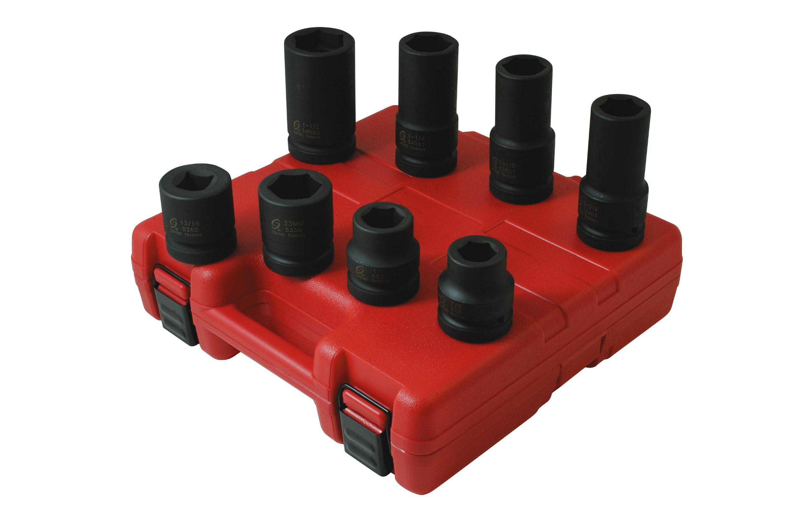 Sunex 5688 1-Inch Drive SAE and Metric Wheel Service Impact Socket Set, 8 piece