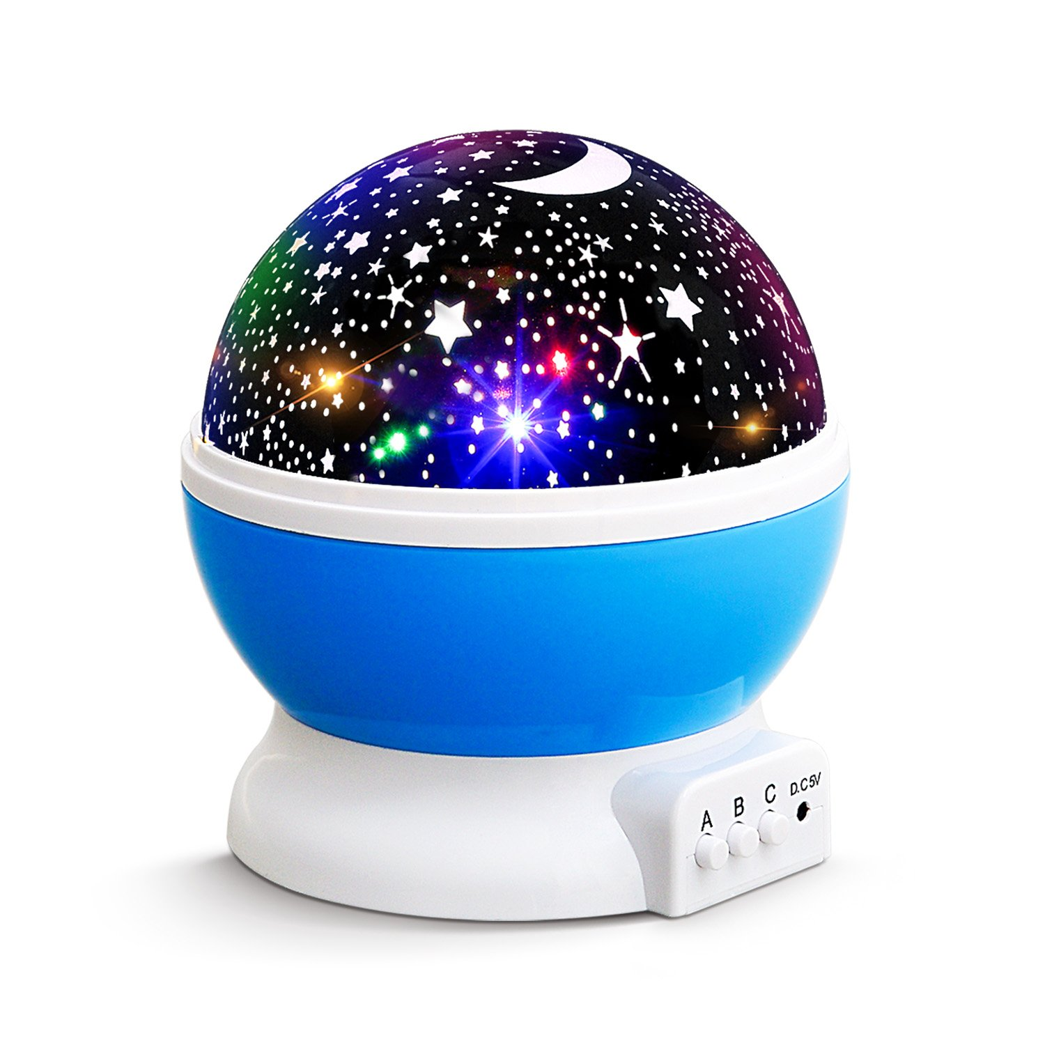 NEW GENERATION Baby Night Lights for kids, Lizber Starry Night Light Rotating Moon Stars Projector, 9 Color Options Romantic Night Lighting Lamp, USB Cable/Batteries Powered for Nursery, Bedroom by Lizber
