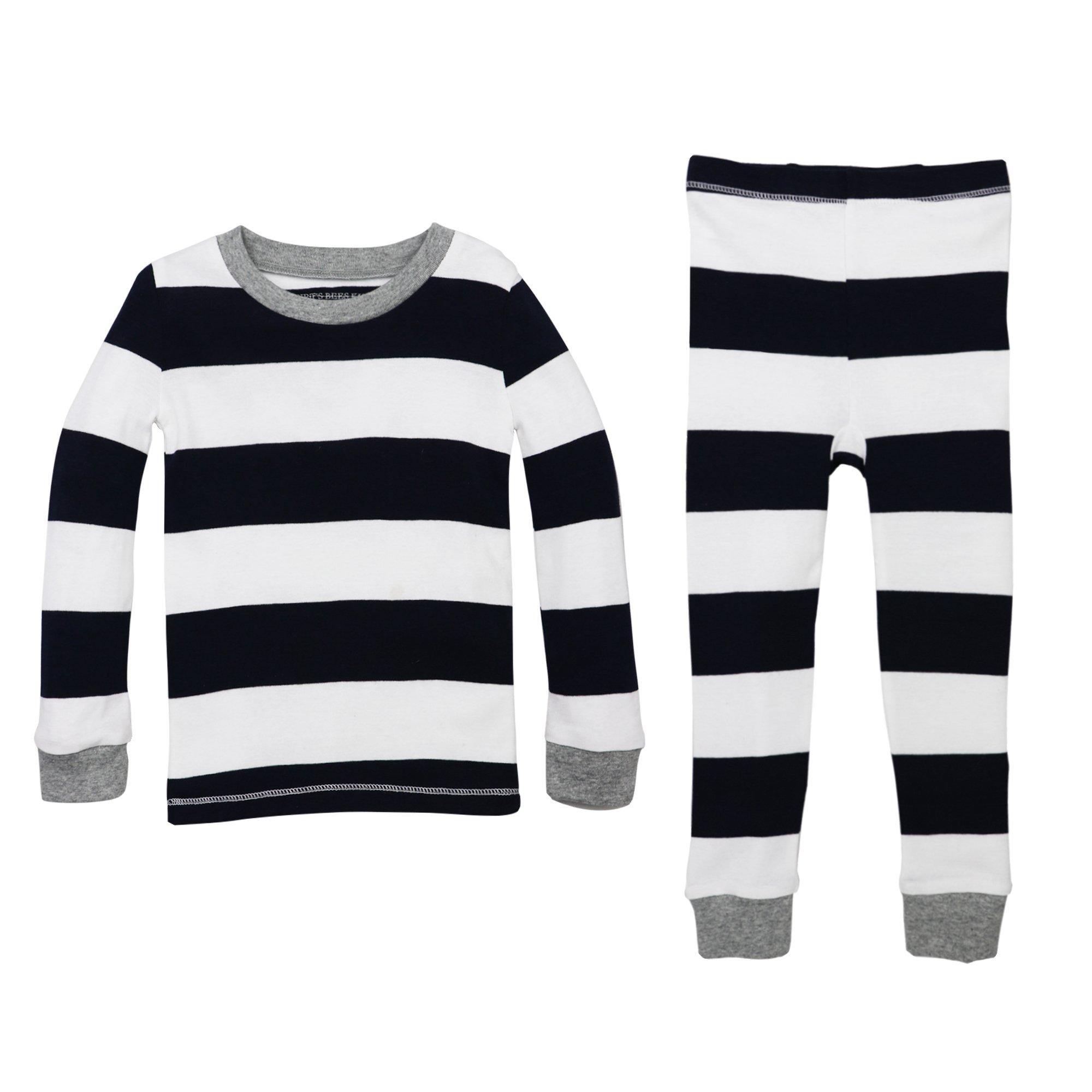 Burt's Bees Baby Unisex Little Kid Pajamas, 2-Piece PJ Set, 100% Organic Cotton (12 Mo-7 Yrs), Midnight Rugby Stripe, 6 Years