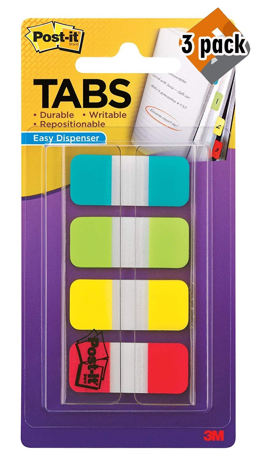 Post-it Tabs.625 in. Solid, Aqua, Lime, Yellow, Red, Durable, Writable, Repositionable, Sticks Securely, Removes Cleanly, 10/Color, 40/Dispenser, (676-ALYR) 3 Pack by Post-it