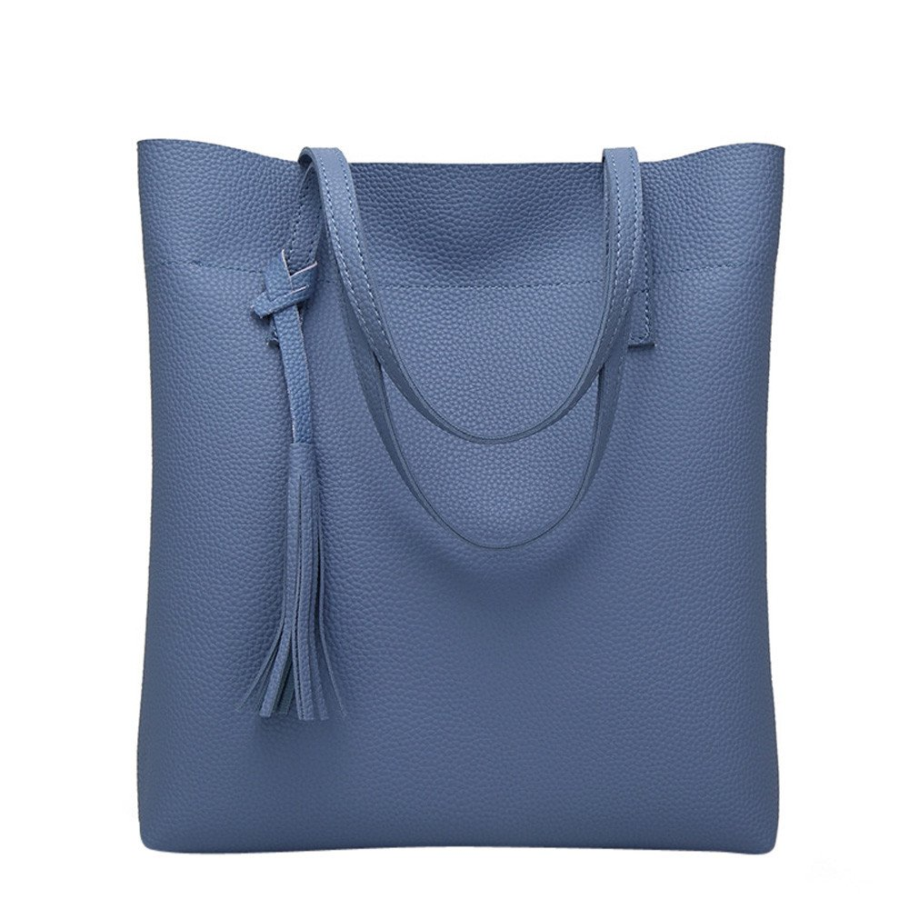 COOKI Womens Purses and Handbags Casual Simple Leather Tassel Crossbody Handbags Purse Totes Shoulder Top-Handle Travel Bags on Sale Clearance (Blue)