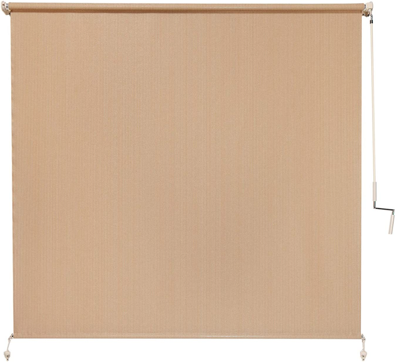 Coolaroo Exterior Roller Shade, Cordless Roller Shade with 80% UV Protection, No Valance, (6' W X 6' L), Almond