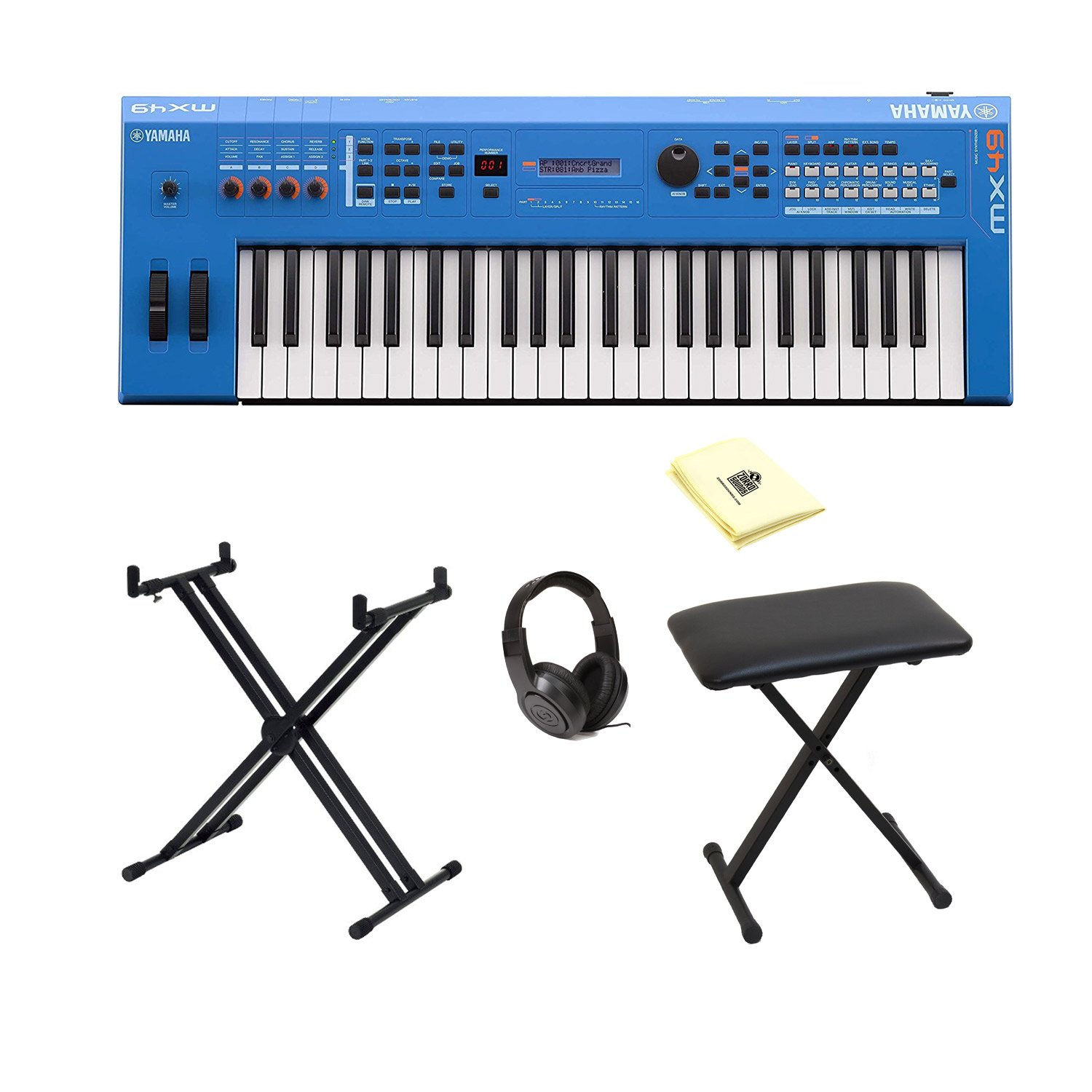 Yamaha MX49BU 49-Key Keyboard Music Production Synthesizer in Blue with Accessories