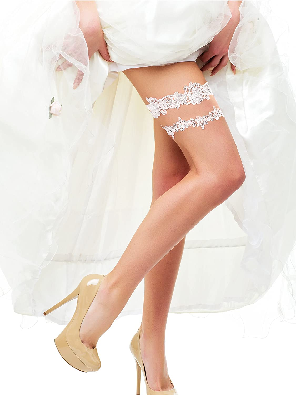 BBTO 2 Pieces Flower Leaf Style Garter Wedding Garter Bridal Garter Stretch Garter Belt