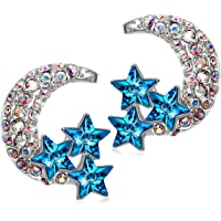 PAULINE&MORGEN Nickle-Free&Lead-Free Stud Moon Earrings for Sensitive Ears, Crystals from Swarovski Anniversary Birthday Gifts for Women with Exquisite Packing