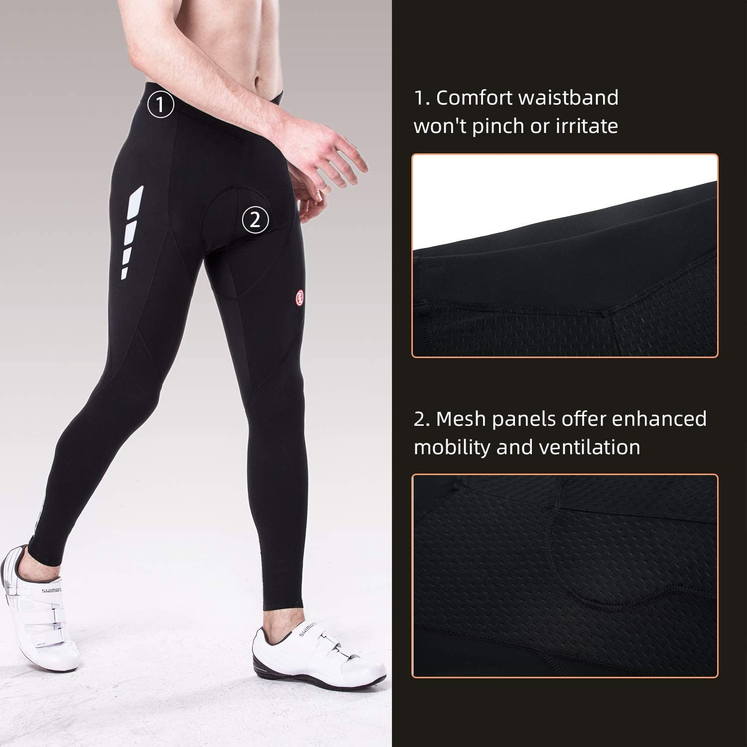 Souke Sports Men's Bicycle Pants 4D Padded Road Bike Tights Breathable Cycling Long Leggings : Clothing