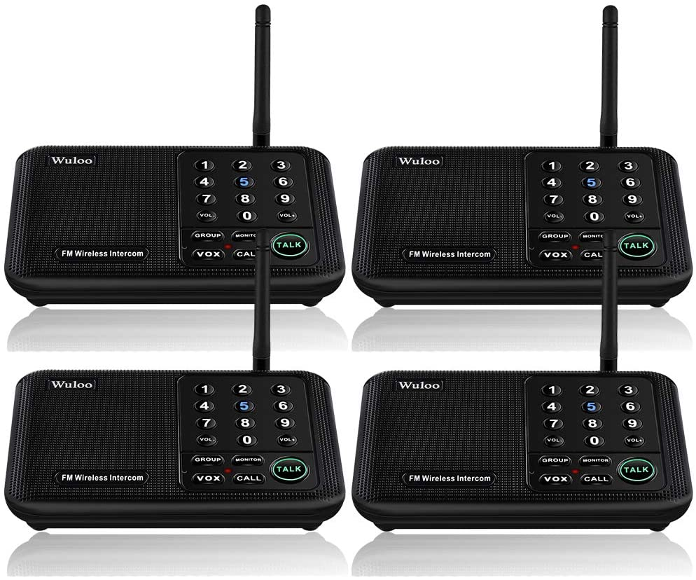Wuloo Intercoms Wireless for Home 5280 Feet Range 10 Channel 3 Code, Wireless Home Intercom System for Home House Business Office, Room to Room Intercom, Home Communication System (4 Packs, Black)
