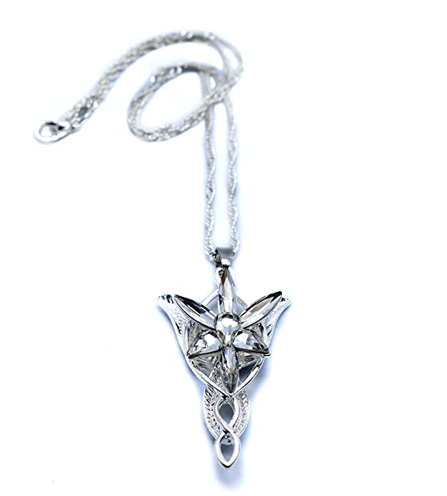 LOTR Lord Of The Rings Hobbit Arwen EVENSTAR Silver Color Necklace Crystal Pendant Prop Replica with Gift Bag mfrm7sZ