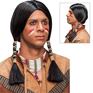 NET TOYS Perruque Indien Homme Coiffe de Carnaval Amérindien Noir  Accessoire de déguisemenet Chef Moumoute Masculin