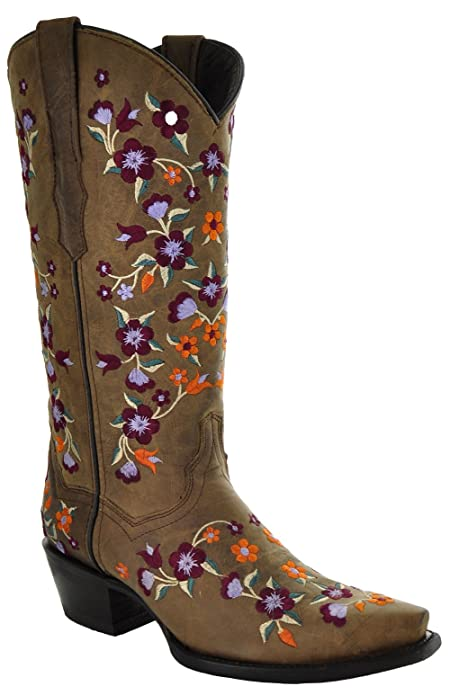 Soto Boots Floral Fantasy Cowgirl Fashion Boots M50031 (6.5) Tan
