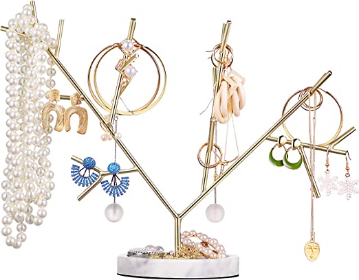 Amazon Com Metal Jewelry Tree Jewelry Holder Tree Necklace Hanging Jewelry Organizer Stand Jewelry Tower Tree For Jewelry Hanging Supplies Stand Organizer Golden With Marble Base Style D Home Kitchen