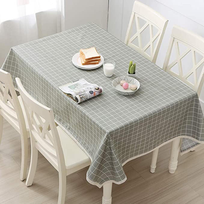 C65-1 Modern Squares PVC Vinyl Wipe Clean Tablecloth  ALL SIZES Code