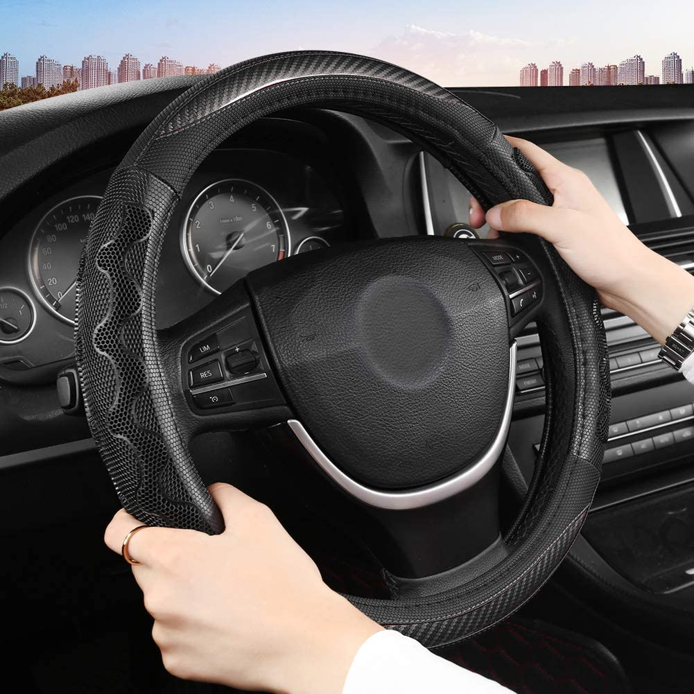 15 inch Universal Black Black Panther Car Steering Wheel Cover with Grip Contours Anti-Slip Design and Improves Control