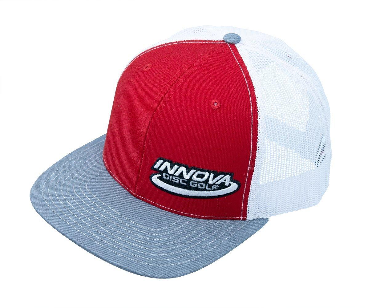 Innova Disc GolfロゴスナップバックTruckerメッシュディスクゴルフ帽子 B07DKHCQY6 Red/Heather/White