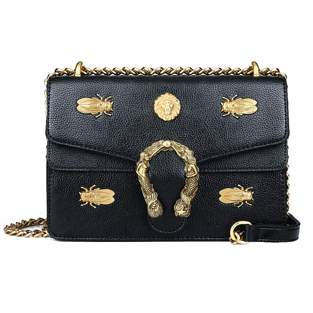 Beatfull Fashion Leather Crossbody Bag for Women Desinger Shoulder bags with Chain Messager Purse Lion Insect