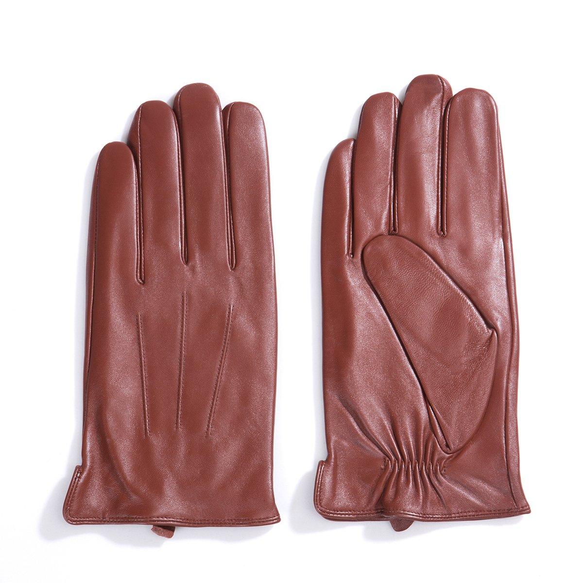Cashmere//Long Fleece Lining MATSU Men Winter Warm Touchscreen Texting Lambskin Driving Motorcycle Leather Gloves M1006