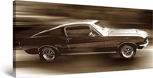 All Sizes Ford Mustang Muscle Car Large BOX CANVAS Art Print Black /& White