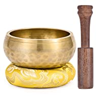Moukey Tibetan Singing Bowl 3.7 Inch Meditation Gong Zen Yoga Bowl Set With Wooden Striker And Cushion Pillow