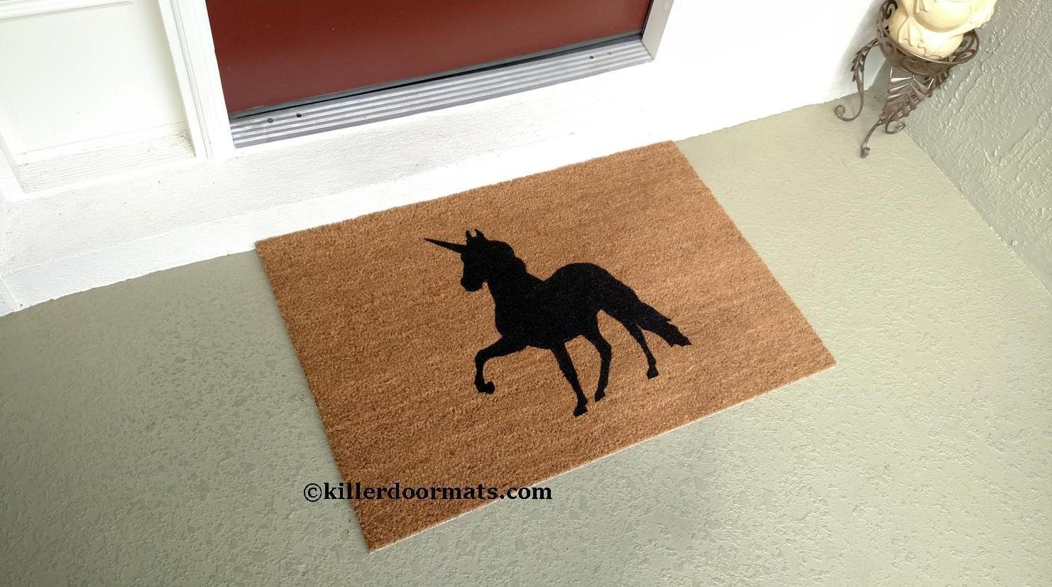 Unicorn Cute Coir Doormat, Size Large - Welcome Mat - Doormat - Custom Hand Painted Doormat by Killer Doormats
