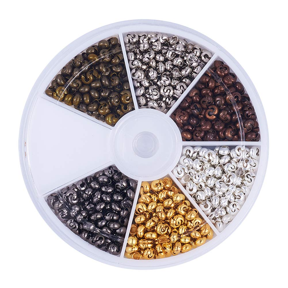 Pandahall 1Box/590pcs 6 Colors 3mm Iron Half Round Open Crimp Beads Covers Knot Covers Beads End Tips for Jewelry Makings Antique Bronze & Red Copper & Black & Silver & Golden & Platinum Lead Free 4336814812