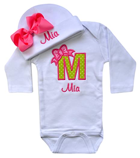 1eb955992 Baby Girl Embroidered Initial Onesie Bodysuit and Matching Grosgrain Bow  Hat with Your Custom Name