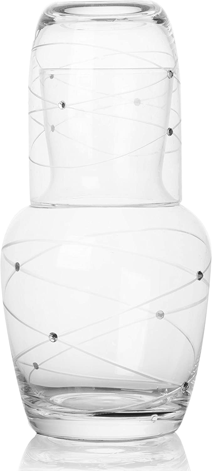 Trinkware Calici Nightstand Water Carafe With Tumbler - Etched Swirl Design With Stones - 2 Piece Water Set Pitcher And Cup