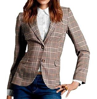 Emmay Costume Femme Élégant Automne Costume De Loisirs Carreaux Button  Style de fête Affaires Revers Manches 251a632188b