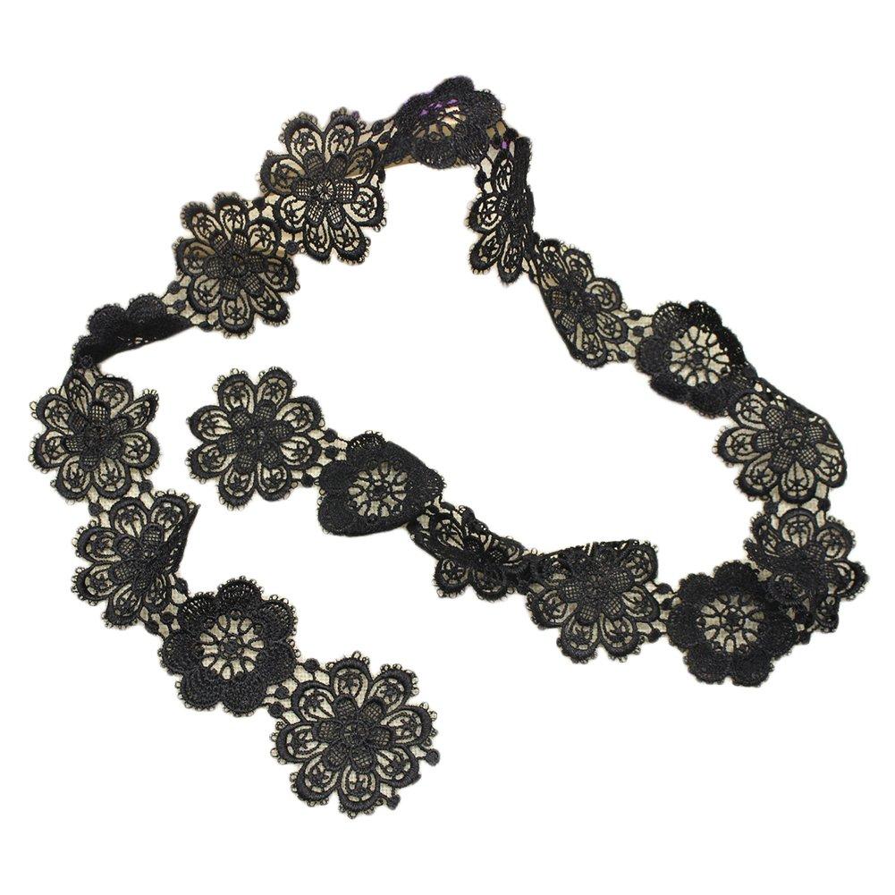 4c99a701bf756 FUNDIY Vintage Style Black Embroidered Lace Flowers Ribbon Trim Bridal  Wedding Sash Scalloped Edge Sewing Motif Applique  Amazon.co.uk  Kitchen    Home