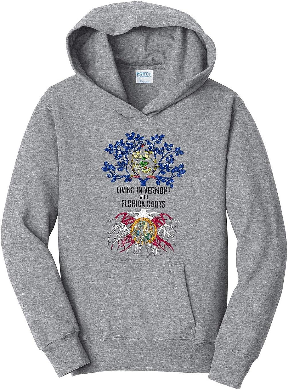 Tenacitee Girls Living in Vermont with Florida Roots Hooded Sweatshirt