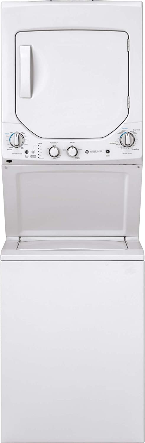 GE GUD24GSSMWW Unitized Spacemaker 2.3 Washer with Stainless Steel Basket and 4.4 Cu. Ft. Capacity Gas Dryer, White