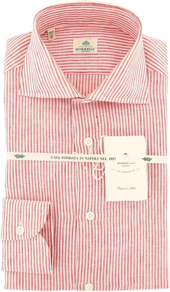 Luigi Borrelli Stripes Button Down Button-Down Collar Linen Slim Fit Dress Shirt