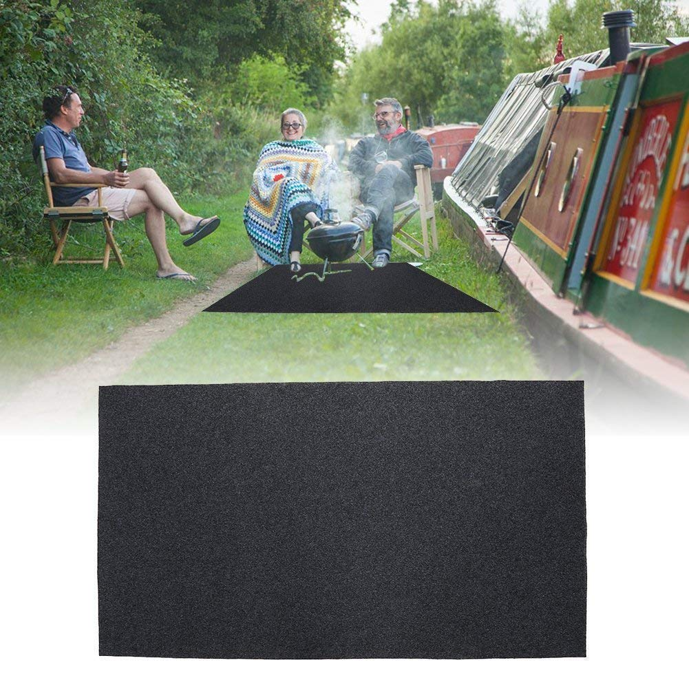 Zerone Grill Splatter Mat,Fireproof Heat Resistant BBQ Gas Grill Splatter Mat Backyard Floor Protective Rug to Protect Decks and Patios 48.81'' x 29.53''