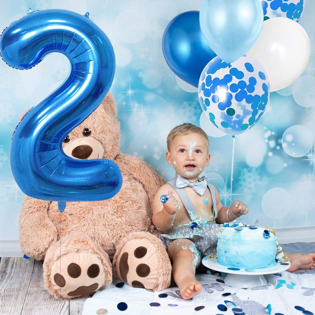 Happy Birthday Blue White Latex Confetti Foil Balloons for Party Supplies Baby 0 Birthday Party Blue Kit Set Baby Boy Birthday Decorations 0 Great Baby Shower