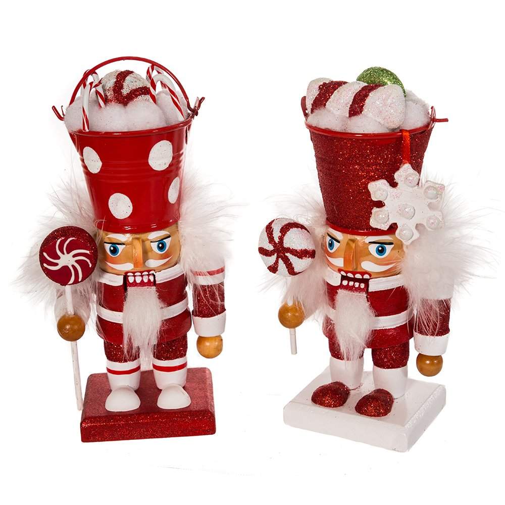 Hollywood Nutcrackers Kurt Adler 7-1/2-Inch Candy Bucket Head Nutcracker, Set of 2
