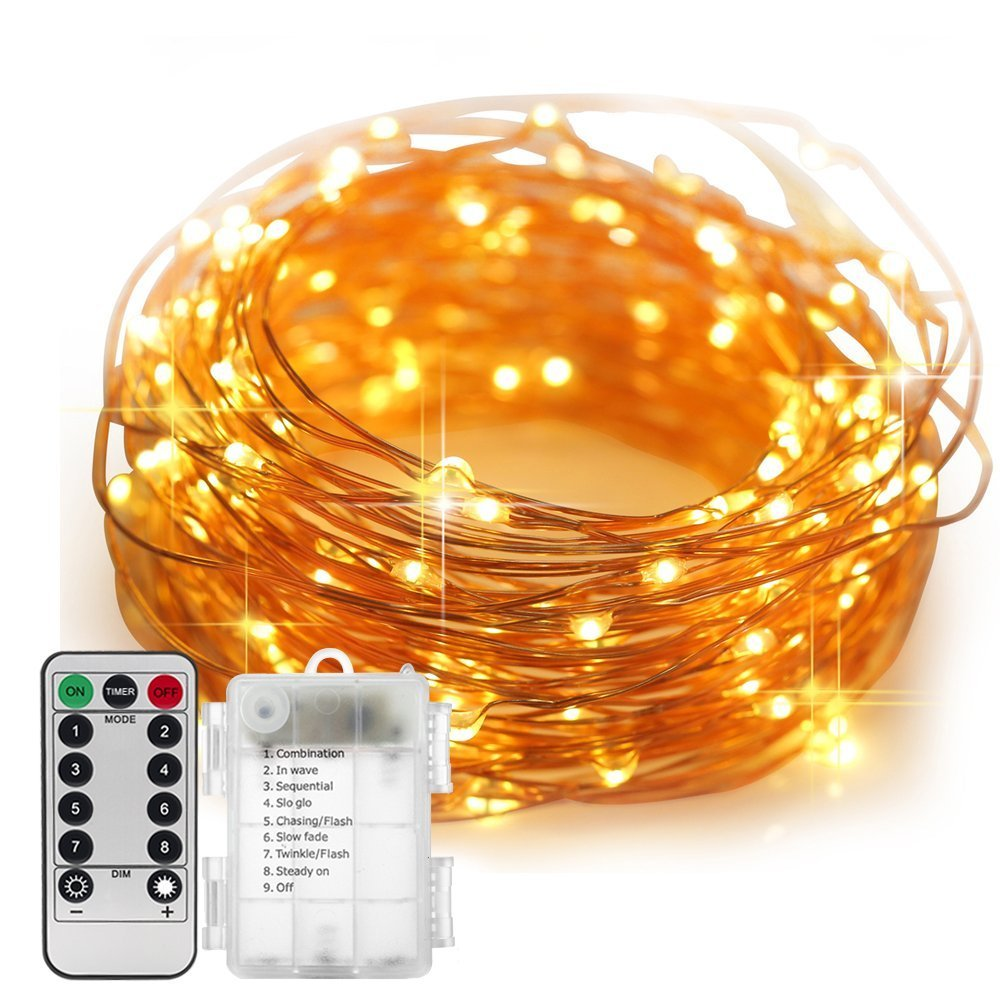 33 ft 100 Leds Outdoor LED Fairy String Lights Battery Operated with Remote (Dimmable, Timer, 8 Modes) - Warm White| By R'UOX R'UOX