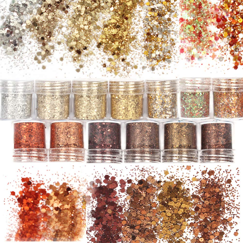 Laza 13 Colors 4.6oz /130g Nail Art Acrylic Nails Powder Glitter Mixed Retro Copper Chunky Sequins Iridescent Flakes Ultra-thin Paillette Sparkles Tips for Cosmetic Face Eyes Body Hair - Golden Age by Laza