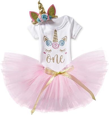 1st Birthday Baby Girl Princess Dress Outfit Romper Tutu Skirt Headband 3pcs Set