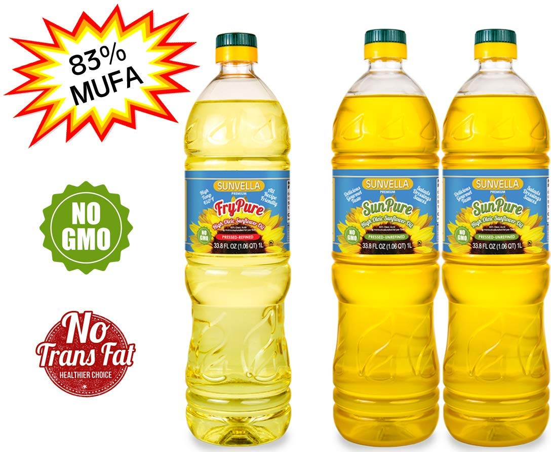 SUNVELLA Non-GMO High Oleic Sunflower Oil Variety Pack/Pressed-Refined + Pressed-Unrefined (33.8 FL OZ FryPure + 2 x 33.8 FL OZ SunPure) by SUNVELLA