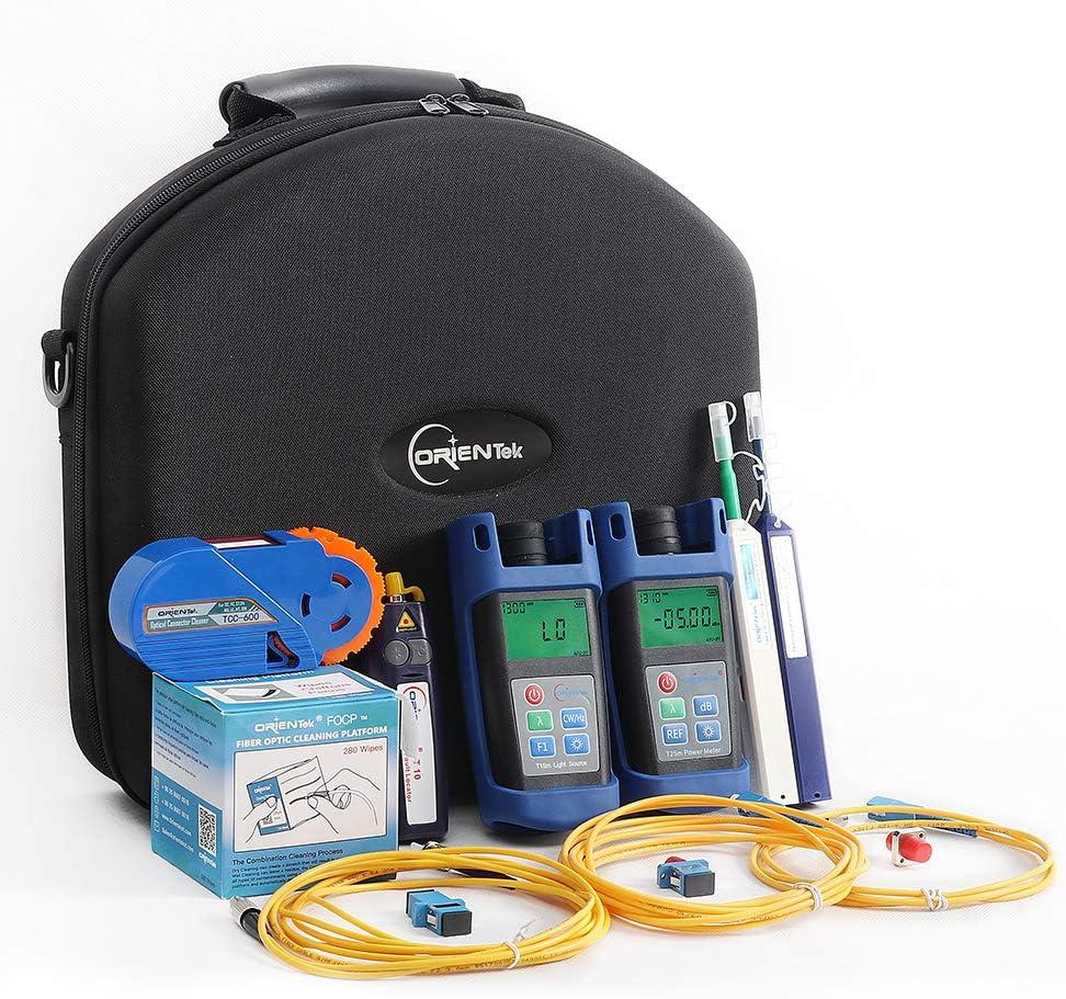 ORIENTEK Fiber Optic FTTH Loss Test Kit Optic Power Meter+Laser light source+VFL+Cleaning Tools