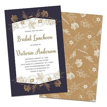 amazon com minimal gold flowers personalized bridal luncheon