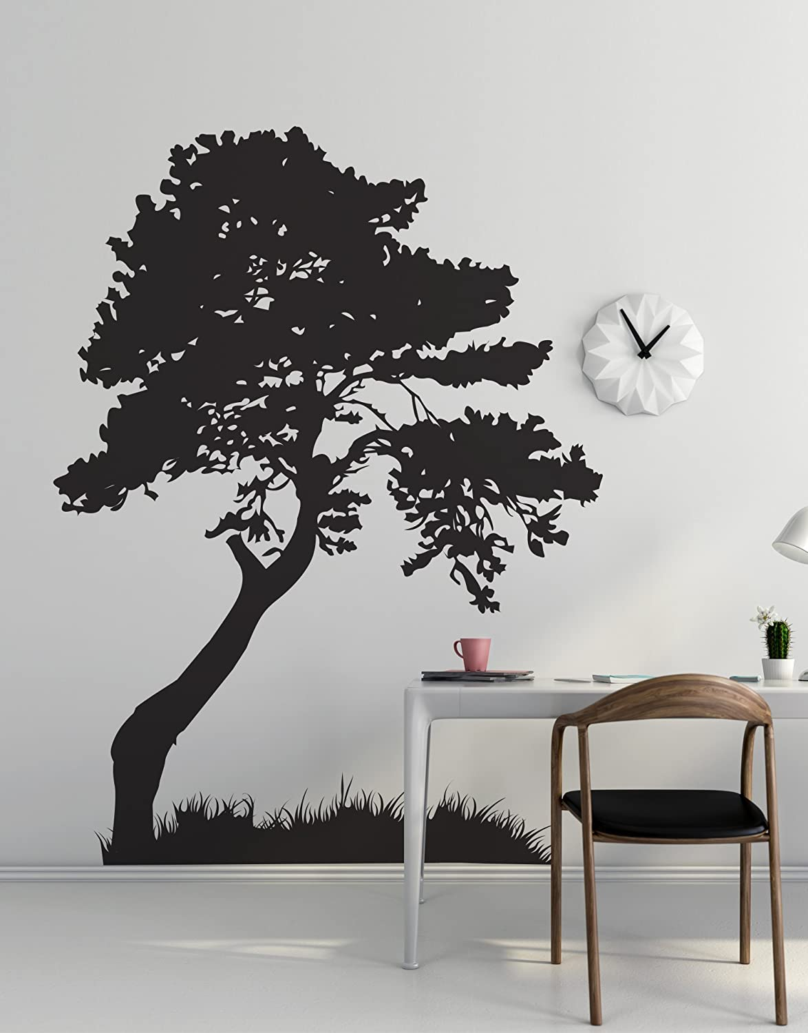Stickerbrand Nature Vinyl Wall Art Huge Tree Leaves Grass Wall Decal