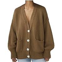 Darringls Gebreid vest voor dames, lange mouwen, met knopen, vlechtpatroon, grof gebreid, cardigan, elegante V-hals…