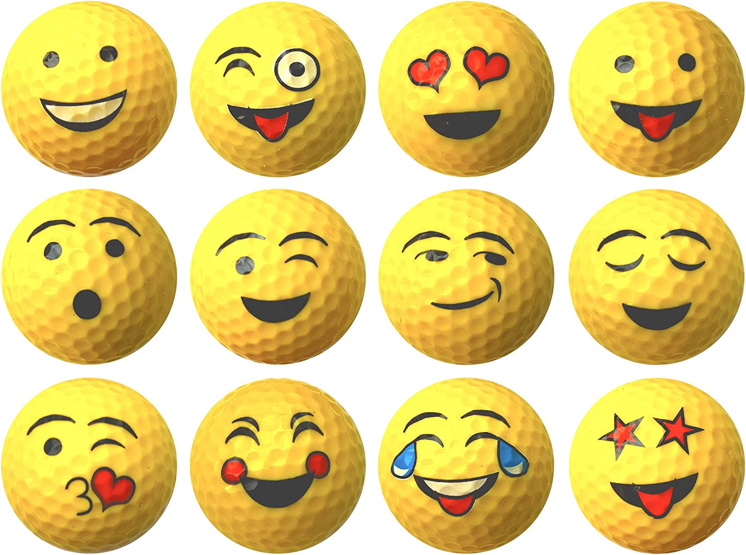 Yellow Emoji Professional Quality High-Visibility Distance Golf Ball Set of 12 for Course Play, Practice, Gifts, and More (One Dozen)